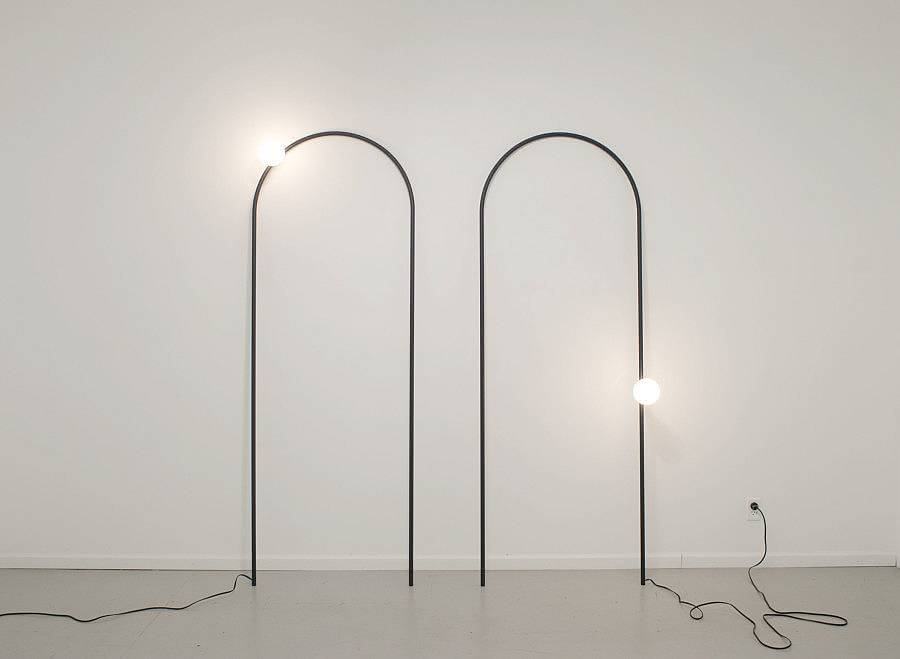 "Arch Lamp 2012 | wire, powder coated, lamp components, bulb | 32"" x 88"" (each)"