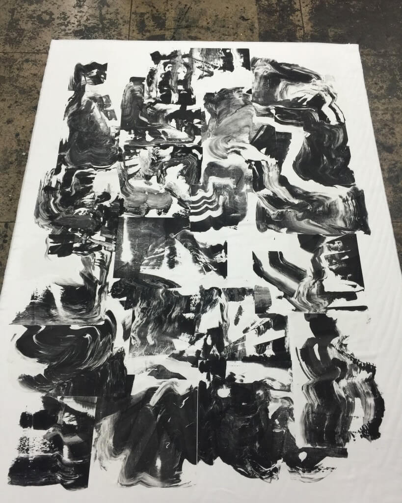 "BOON (pre-strechted) / Gesso on microsuede / 82"" x 60"" inch / 2015"