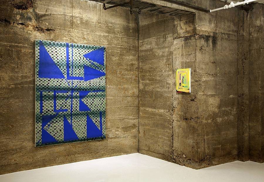 Jered Sprecher, Installation shot, Here & There at Tops Gallery, 2014. (To Be Wellpictured on left and Occident pictured on right)