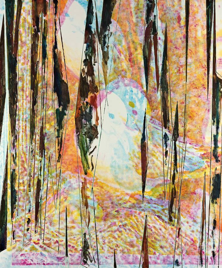 "Jered Sprecher, Trees Walking, oil on linen, 72"" x 60"", 2015"