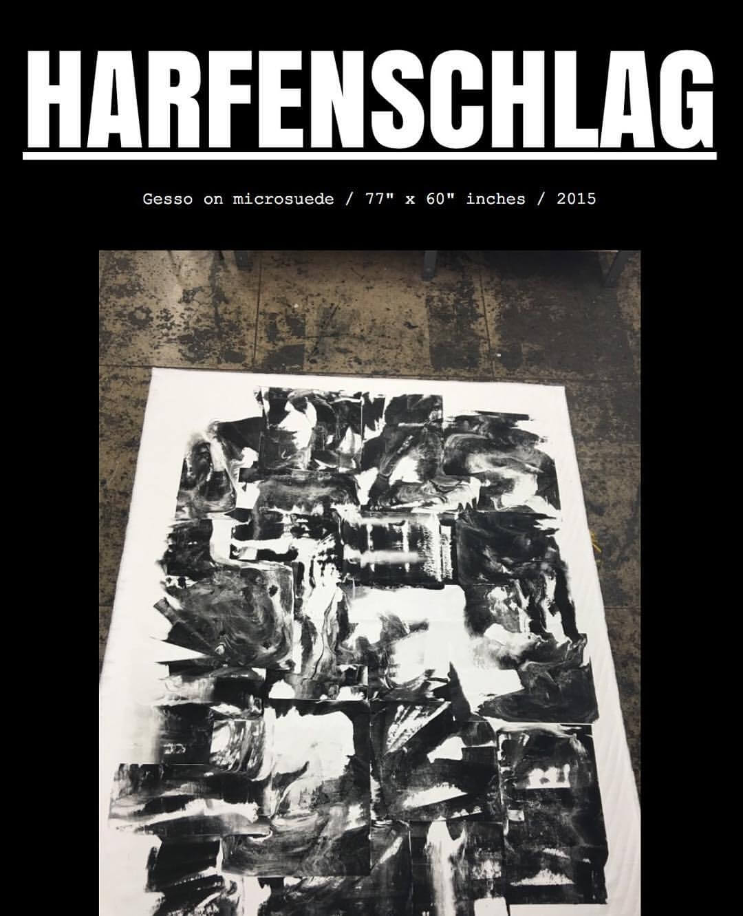 "HARFENSCHLAG (website view) / Gesso on microsuede / 77"" x 60"" inches / 2015"