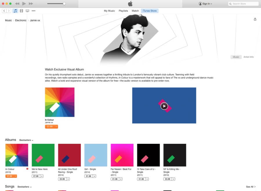 Jamie xx iTunes album visualizer