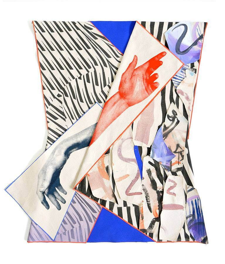 Performance Piece (blue jacket), acrylic, screen print, thread on canvas, 2016
