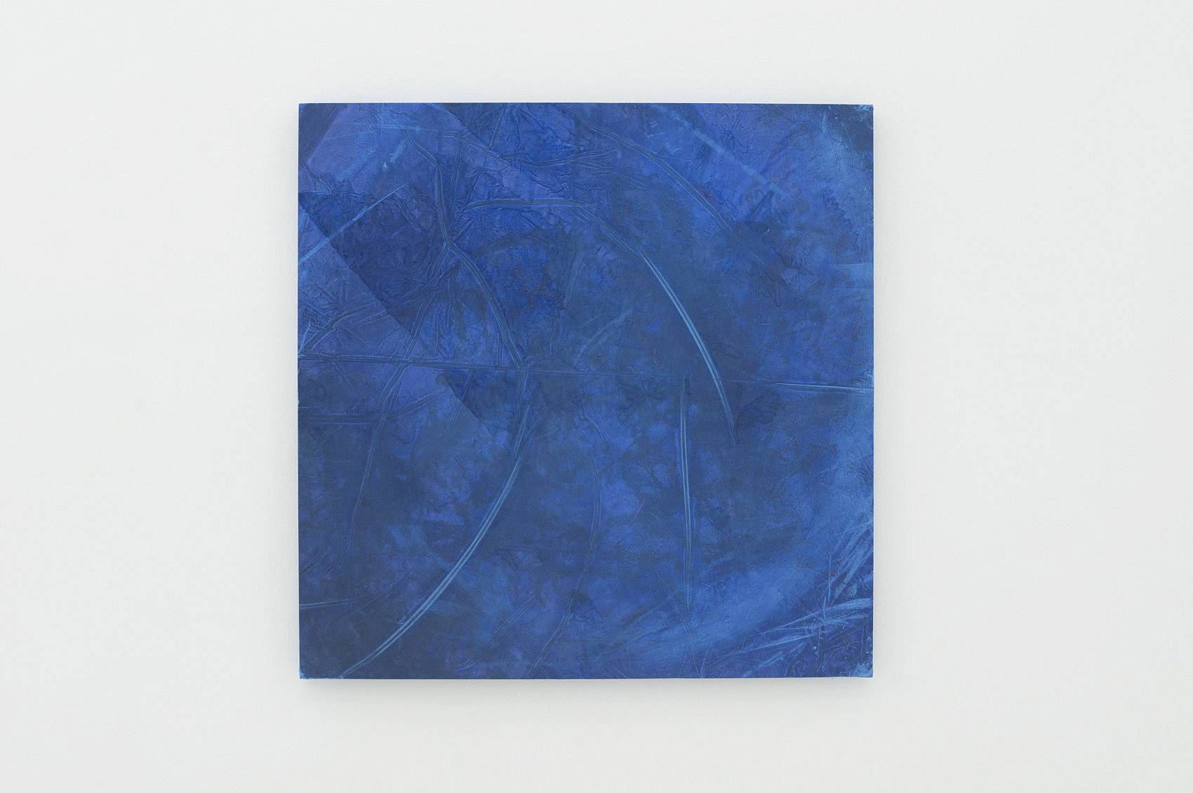 After Bath, latex pool bottom, blue and black ink deposit, 95 x 95 cm, 2016