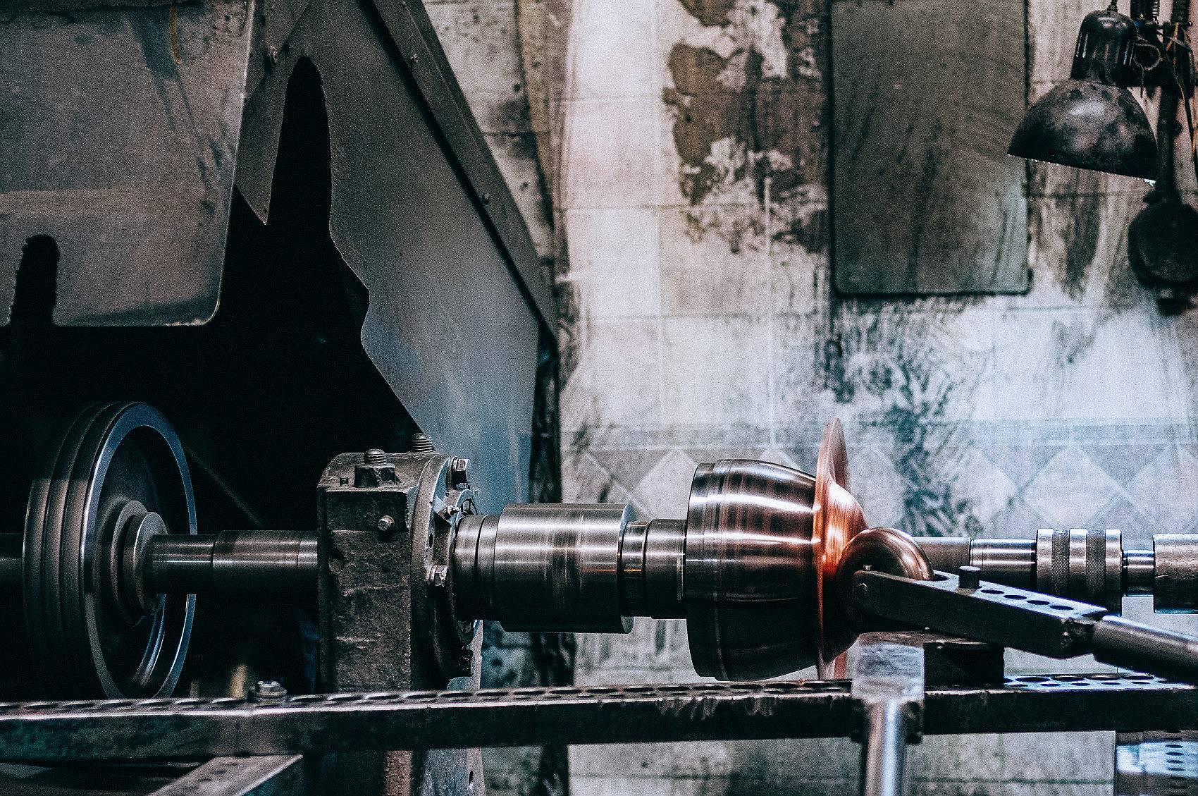 Copper Bullet Bowl being hand spun at Ben Barber's local metal spinning shop